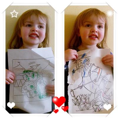A Sarah com 2/5, como da pra ver na foto, ele gosta mais de tirar foto do que colorir.