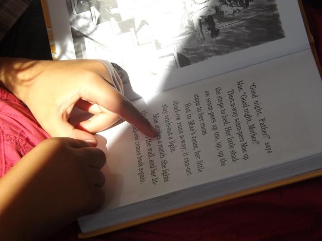 """Amei essa foto. Ela esta lendo um livro Amish que se chama  """" Kitten in the well"""""""
