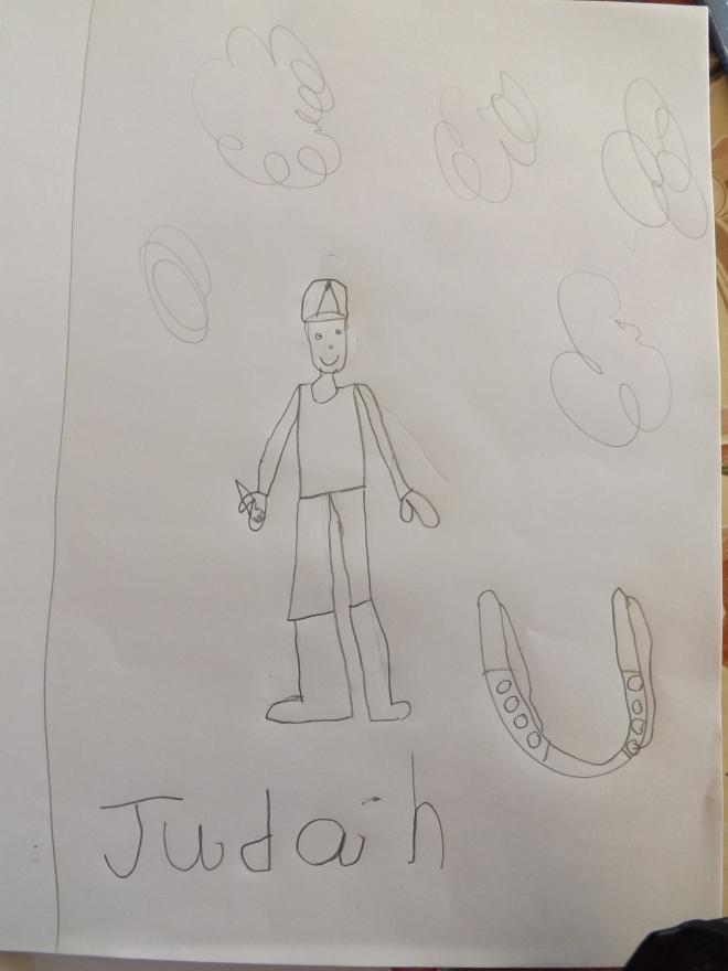 Esse foi o ultimo desenho que ele fez.Ficou tao orgulhoso, mostrou pra família inteira e escreveu seu nome!